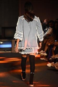 Powder Blue Denim Skirt by Kanika Goyal