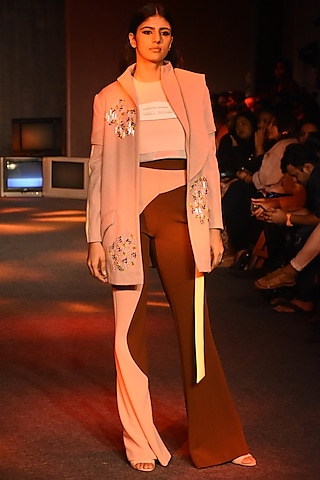 Brown & Pink Bell Bottom Pants With Lime Tie-Up Belt by Kanika Goyal