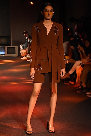 Brown Embroidered Coat by Kanika Goyal