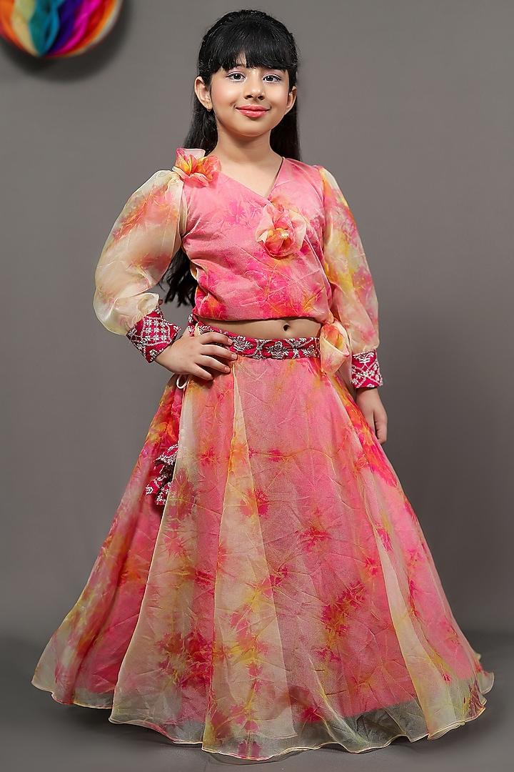 Orange & Pink Lehenga Set With Tassels by  Kirti Agarwal Pret n Couture