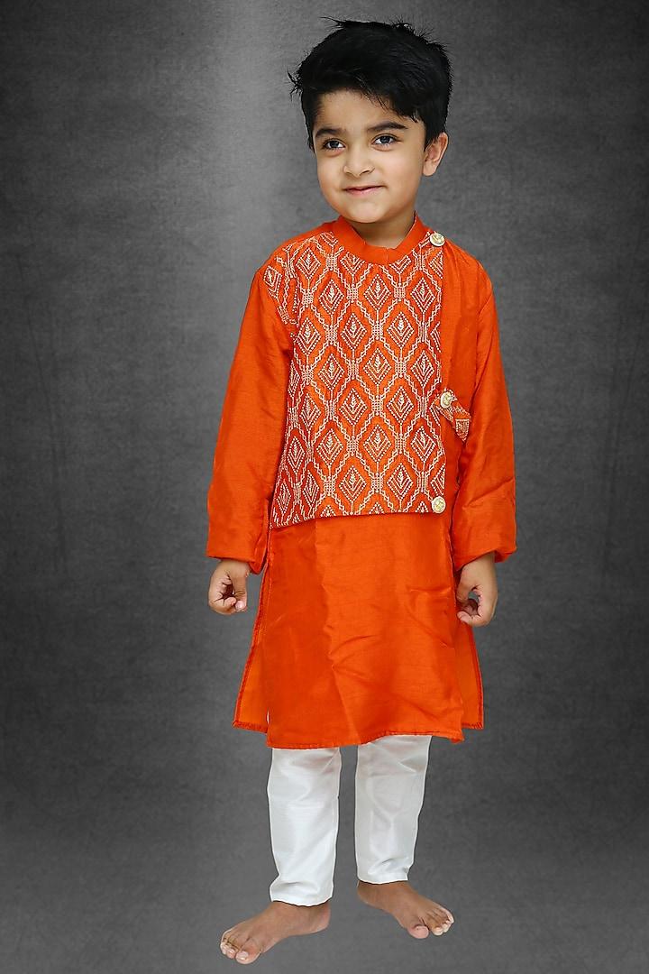 Rust Orange Silk Kurta Set by  Kirti Agarwal Pret n Couture