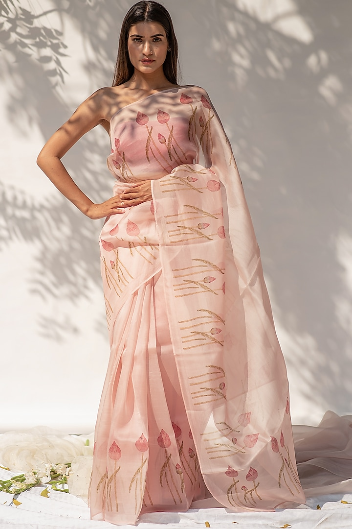 Rose Pink Hand Block Printed Saree by KAPARDARA