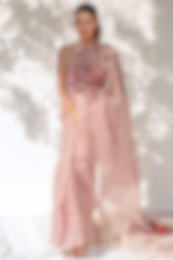 Rose Water Pink Block Printed Saree by KAPARDARA
