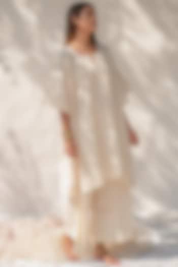 Cloud White Mukaish Work Pant Set by KAPARDARA