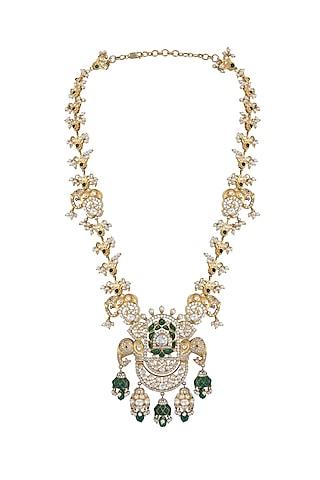 Gold Finish Kundan Polki & Pearl Pendant Necklace In Sterling Silver by Kaari