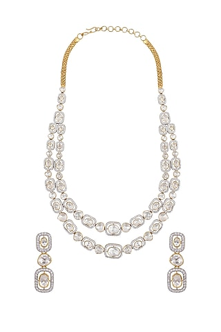 Gold Finish Diamond Double Line Necklace Set In Sterling Silver by Kaari