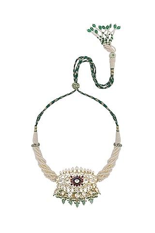 Gold Finish Kundan Polki Choker Necklace In Sterling Silver by Kaari