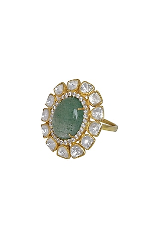 Gold Finish Kundan Polki Ring In Sterling Silver by Kaari