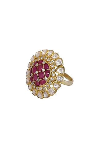 Gold Finish Ruby Checkered Ring In Sterling Silver by Kaari