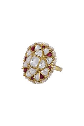 Gold Finish Kundan Polki & Ruby Ring In Sterling Silver by Kaari