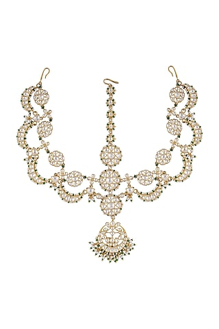 Gold Finish Kundan Polki & Pearl Mathapatti In Sterling Silver by Kaari