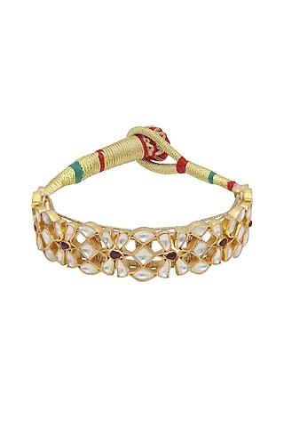 Gold Finish Kundan Polki Poronchi Bracelet In Sterling Silver by Kaari