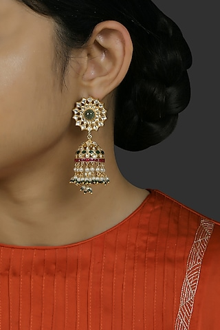 Gold Finish Kundan Polki Jhumka Earrings In Sterling Silver by Kaari