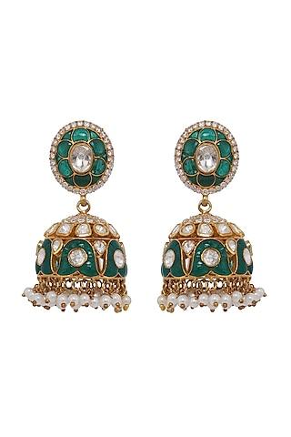 Gold Finish Kundan Polki & Pearl Jhumka Earrings In Sterling Silver by Kaari