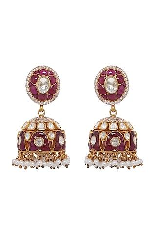 Gold Finish Ruby & Pearl Jhumka Earrings In Sterling Silver by Kaari