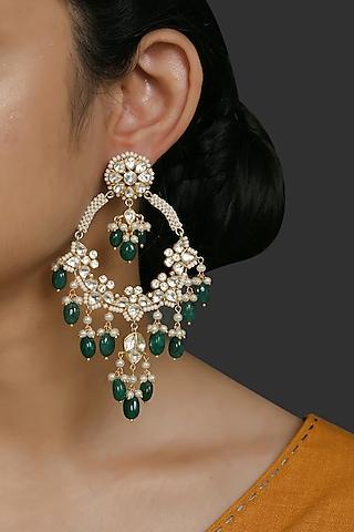 Gold Finish Kundan Polki & Pearl Chandbali Earrings In Sterling Silver by Kaari