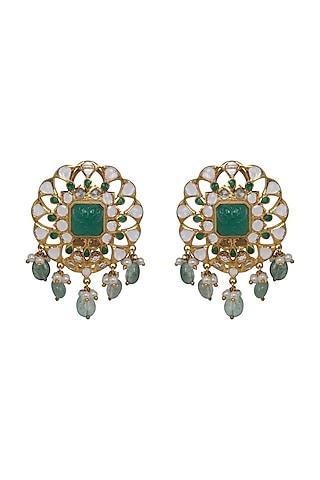 Gold Finish Kundan Polki & Pearl Stud Earrings In Sterling Silver by Kaari