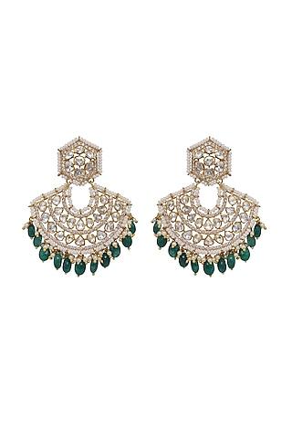 Gold Finish Kundan Polki & Emerald Chandbali Earrings In Sterling Silver by Kaari