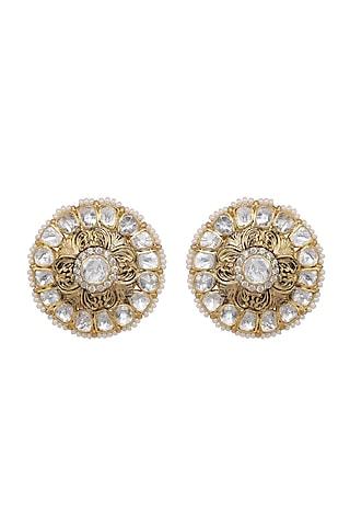 Gold Finish Kundan Polki Stud Earrings In Sterling Silver by Kaari