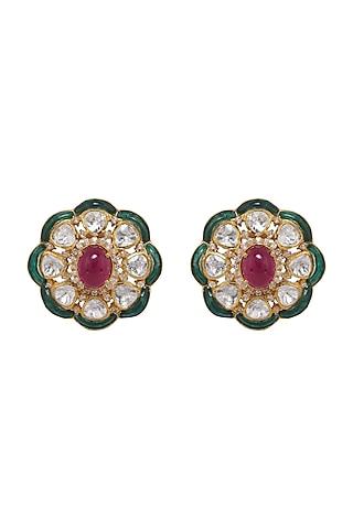 Gold Finish Kundan Polki & Emerald Stud Earrings In Sterling Silver by Kaari