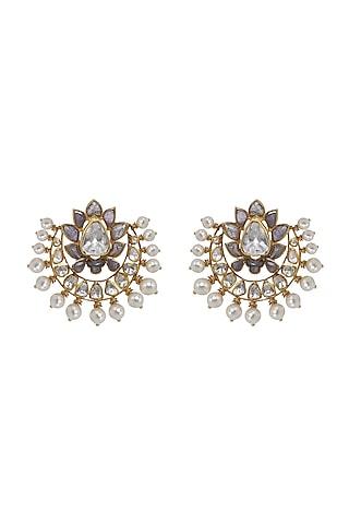 Gold Finish Pearl & Kundan Polki Stud Earrings In Sterling Silver by Kaari