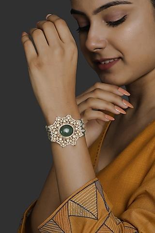 Gold Finish Kundan Polki & Pearl Bracelet In Sterling Silver by Kaari