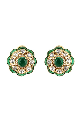 Gold Plated Polki & CZ Diamonds Stud Earrings by Kaari
