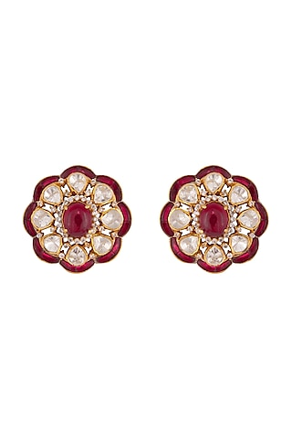 Gold Plated Ruby Stud Earrings by Kaari