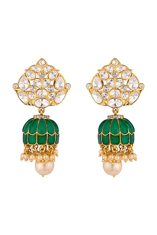 Gold Plated Polki Jhumki Earrings by Kaari