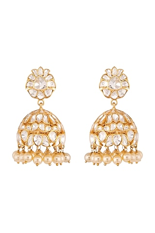 Gold Plated Pearls Jhumki Earrings by Kaari