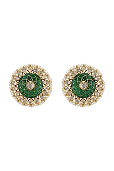 Gold Plated Emerald Stud Earrings by Kari
