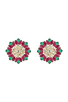 Gold Plated Emerald & Ruby Stud Earrings by Kari