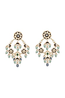 Gold Plated Emerald Chandbali Earrings by Kari