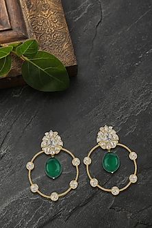 Gold Plated Emerald & Polki Chandbali Earrings by Kari