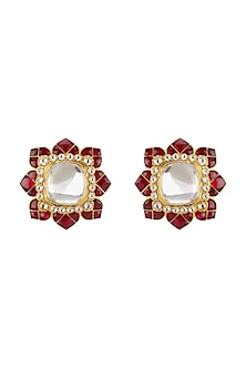 Gold Plated Ruby & Polki Stud Earrings by Kari