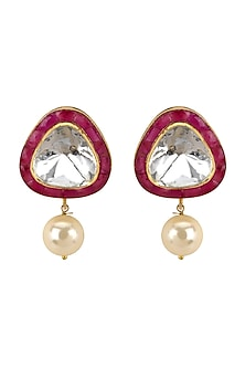 Gold Plated Vellore Polki Stud Earrings by Kari