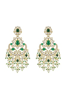 Gold Plated Vellore Polki Chandbali Earrings by Kari