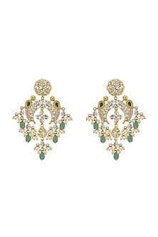 Gold Plated Fresh Water Pearls Chandbali Earrings by Kari
