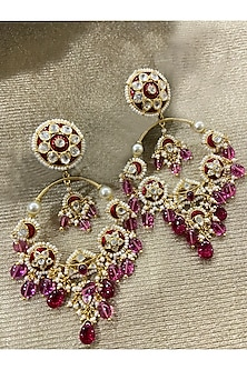 Gold Plated Tourmaline Beads Chandbali Earrings by Kari