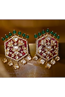 Gold Plated CZ Diamond Stud Earrings by Kari