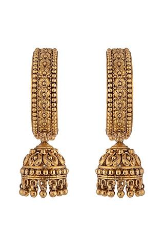 Gold Plated Jhumki Earrings by Kaari