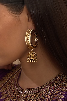 Gold Plated Jhumki Earrings by Kari
