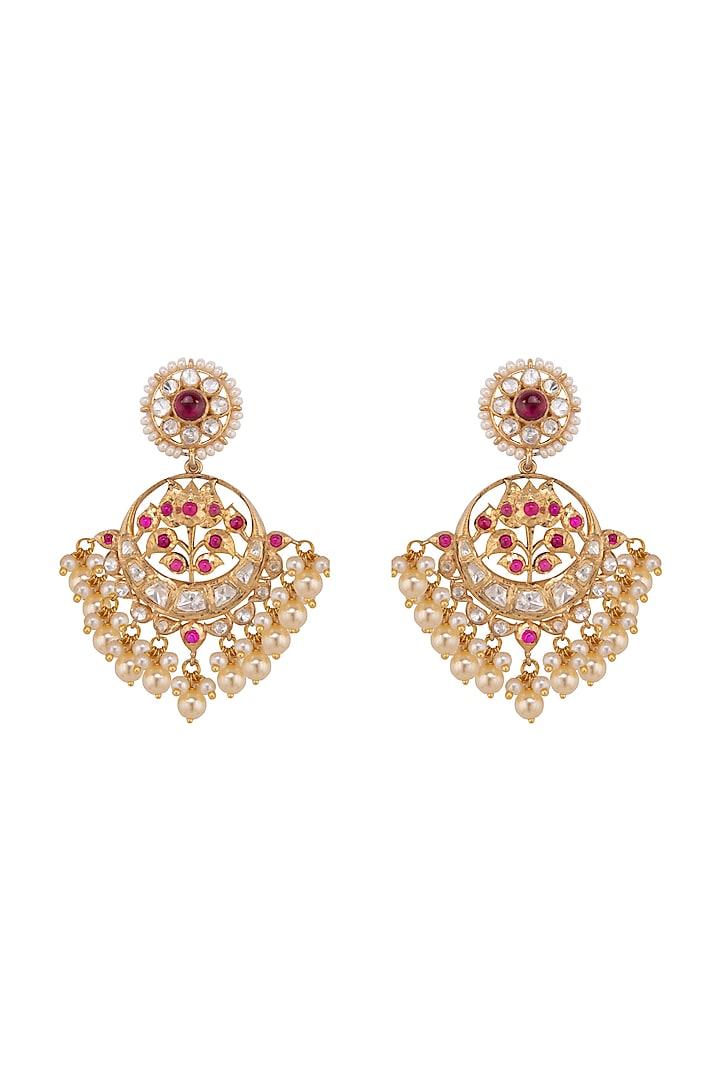 Gold Plated Ruby & Polki Chandbali Earrings by Kaari