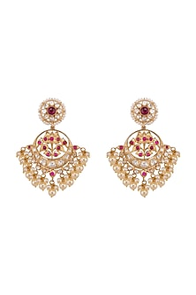 Gold Plated Ruby & Polki Chandbali Earrings by Kaari