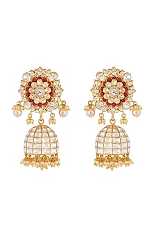 Gold Plated Coral Jhumki Earrings by Kari