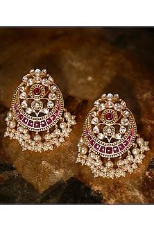 Gold Plated Vellore Polki Stud Earrings by Kaari