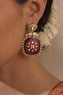 Gold Plated Ruby Dangler Earrings by Kaari