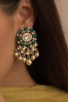 Gold Plated CZ Diamonds Dangler Earrings by Kaari