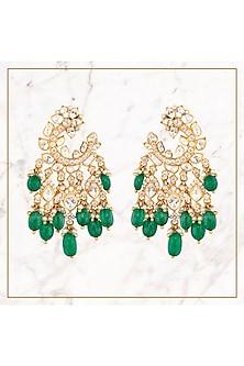 Gold Plated Emeralds Dangler Earrings by Kaari