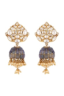 Gold Plated Vellore Polki Jhumka Earrings by Kaari